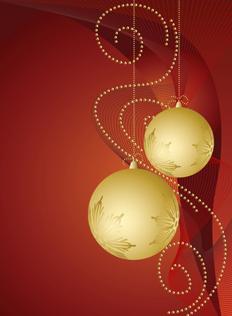 vector abstract background with Christmas gold ball Vector