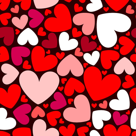 vector seamless pattern with hearts Illustration