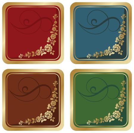vector floral gold label for text. four different color set