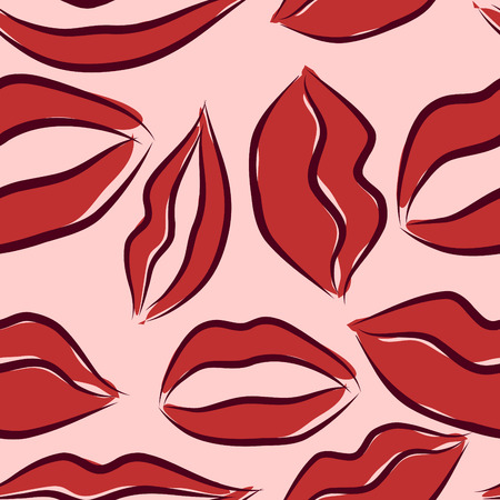 vector seamless pattern with lips