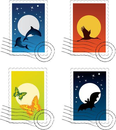vector set of postal stamp
