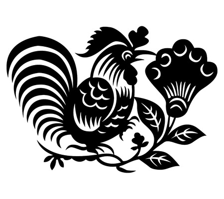 vector chicken and floral element, chinese traditional design