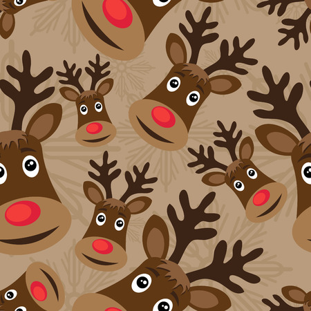 wrappers: vector seamless christmas pattern with rudolph