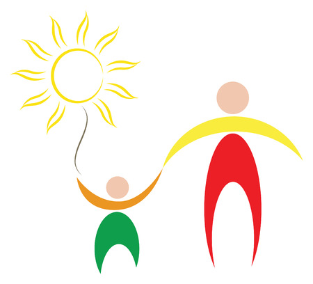 sun protection: vector symbol of peace and family. father hold son by the hand, and children hold sun in ones hand.