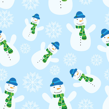 vector seamless christmas pattern with snowman Illustration