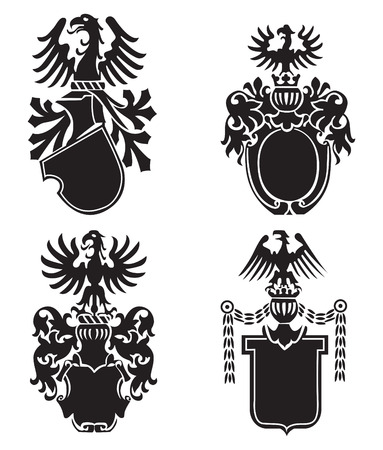 four different vector heraldic shields