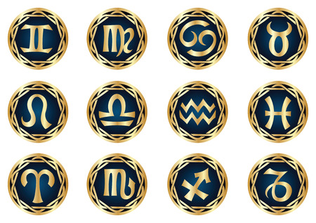 vector gold zodiac icon set Vector