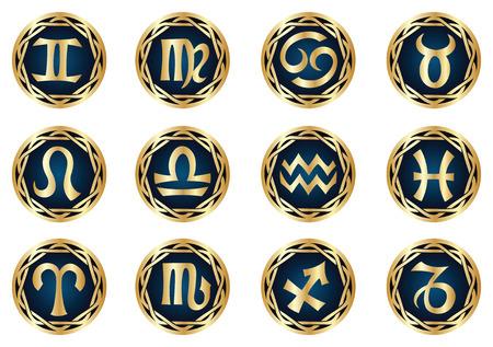 vector gold zodiac icon set Vector