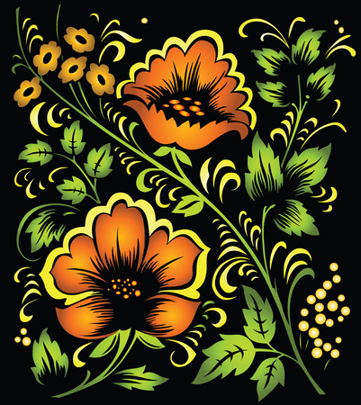 hohloma: colorful floral vector ornament Illustration