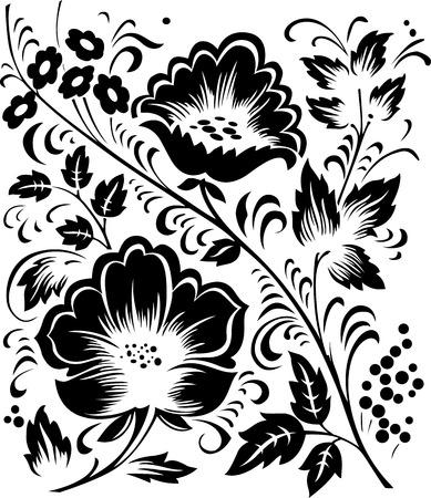 hohloma: monochrome floral vector ornament