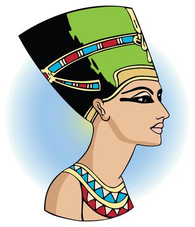 ancient egyptian civilization: vector head of egyptian queen nefertiti Illustration