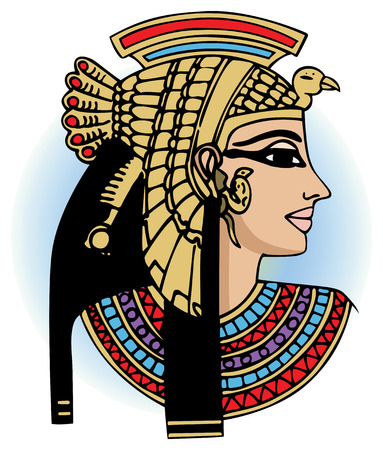 cleopatra: vector head of egyptian queen cleopatra