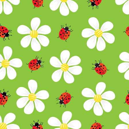 seamless pattern of flowers and ladybug Vector