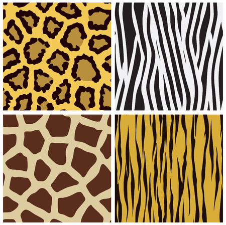 set of animal fur seamless pattern Vector
