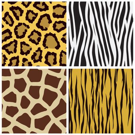 giraffe skin: set of animal fur seamless pattern