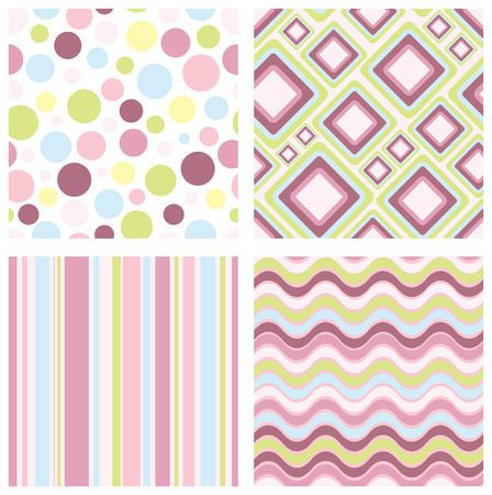 set of four different retro seamless pattern Stock Vector - 6465921