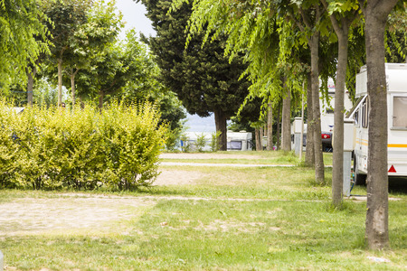 camping pitch: Empty pitches waiting for the guests to arrive Editorial