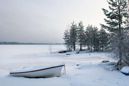Frozen winter lake landscape photo