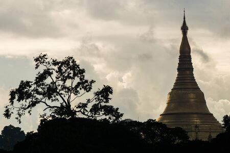 view of silouhette top of shwedagon pagoda myanmar with clouds and tree