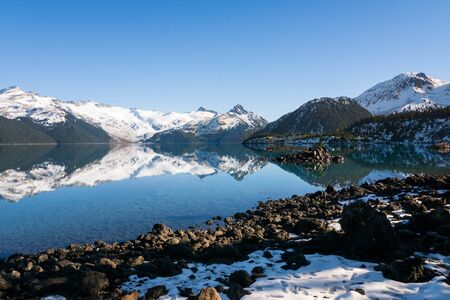 sunny day at shore of garibaldi lake canada