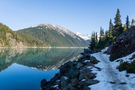 view of trail along the shore of garibaldi lake near whistler in provinvial park