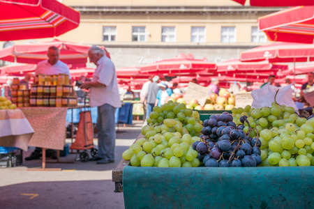 local market in Zagreb with fresh grapes