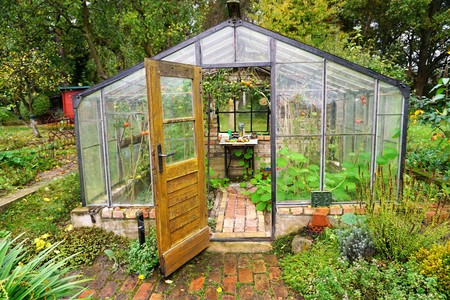 Greenhouse with bricks and tomatoes in a garden