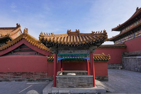 Little temple with yellow roof in Beijing China Banque d'images