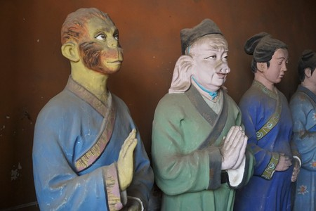 Taoist temple tao in Beijing China with religious statues departments of afterlife