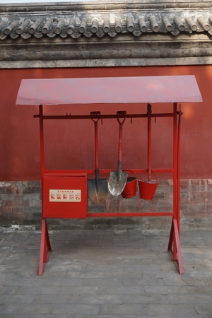 Fire extinguisher station in temple in Beijing China
