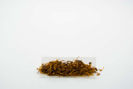 rolling paper: A little pile of rolling tobacco in rolling paper for making home made cigarettes