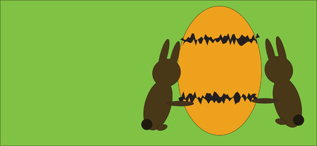puerile: illustration of Easter eggs with bunnies. Illustration