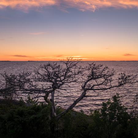 lejos: Paisaje con mar y puesta de sol en la noche de verano en Hanko, Finlandia Foto de archivo