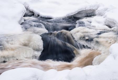 forme: Gros plan sur les rapides des rivières à l'heure d'hiver