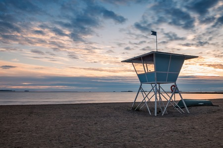 Lifeguard Tower on the Beach at Sunset during the Summer in Finland