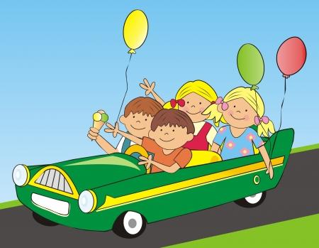 car and children photo