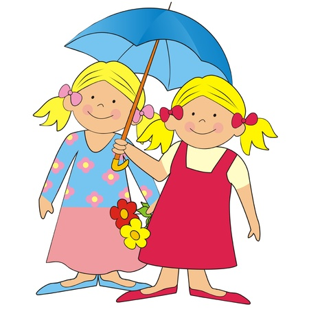 lassie: girls and umbrella Stock Photo