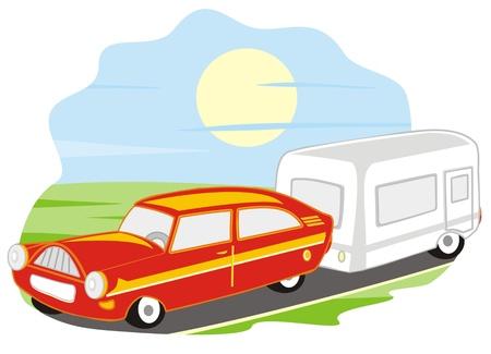 car and caravan Illustration