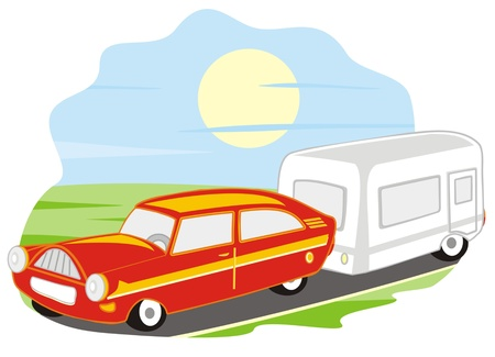 car and caravan Vector