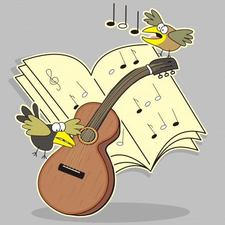 Guitar and bird Vector