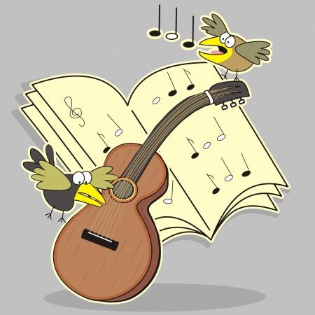 Guitar and bird Stock Vector - 20245509