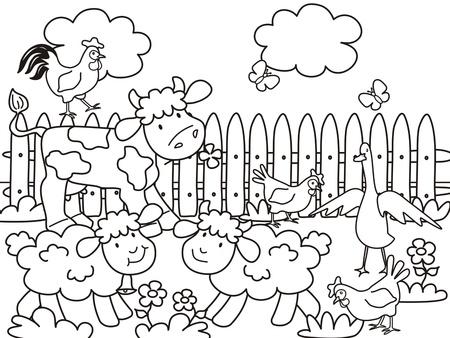 farm-coloring book Illustration