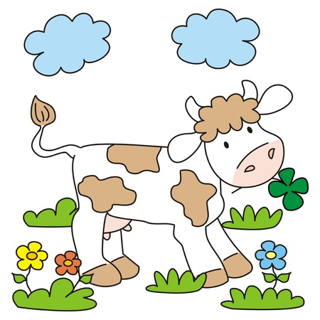 cow and meadow Stock Vector - 20245502