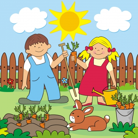 Garden and rabbit Vector