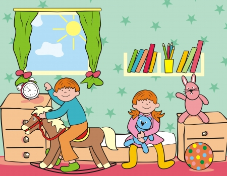 children and toy Vector