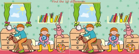 bedstead: children and toy- find 10 differences