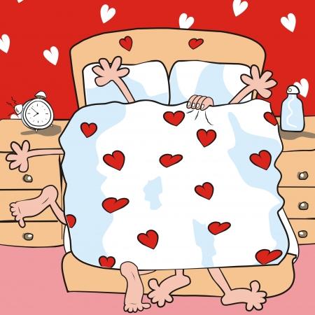 couple lit: dans la chambre Illustration