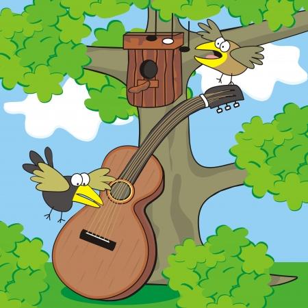 Guitar and birds Stock Vector - 20308354