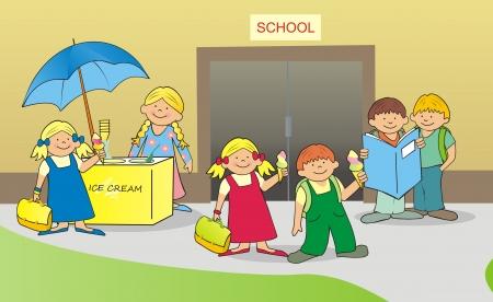 shopgirl: children before school Illustration