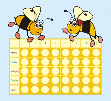timetable: Timetable - bees Illustration
